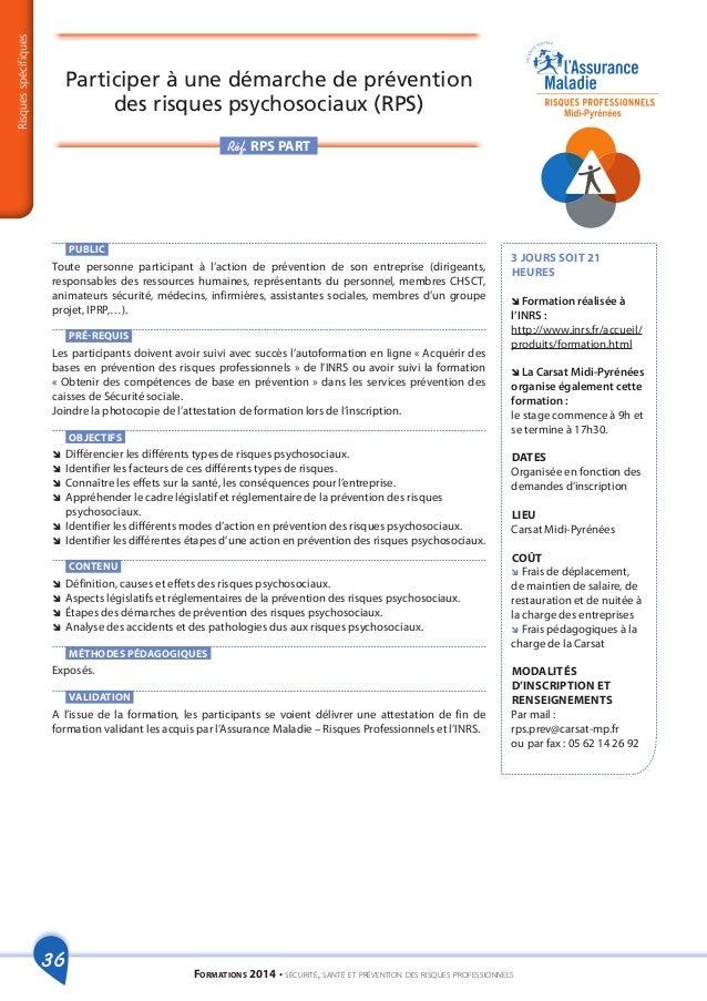 catalogue formations risques professionnels 2014