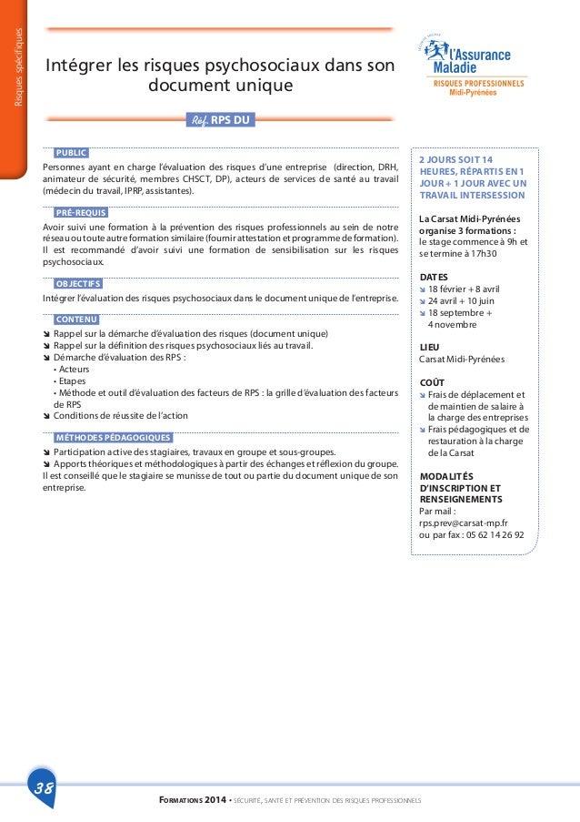 Catalogue formations risques professionnels 2014 - Grille d identification des risques psychosociaux au travail ...