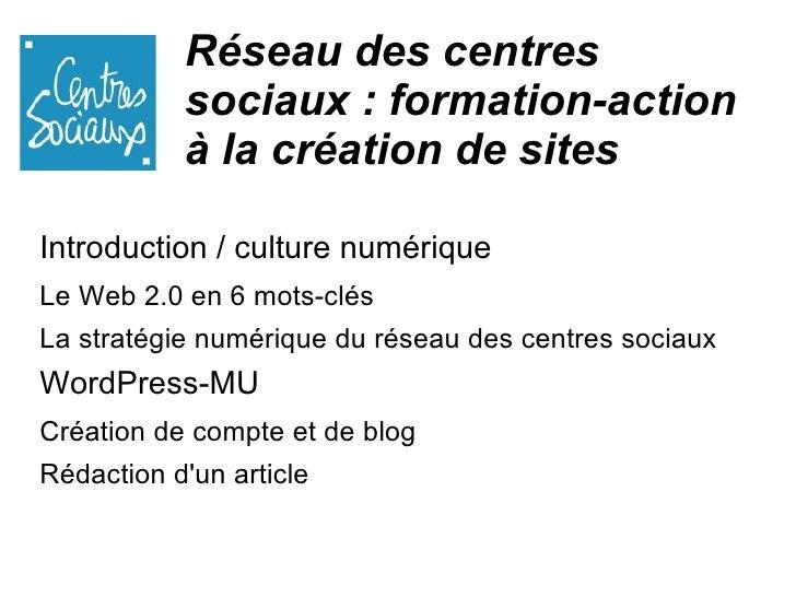 Réseau des centres sociaux : formation-action à la création de sites <ul><li>Introduction / culture numérique </li></ul><u...