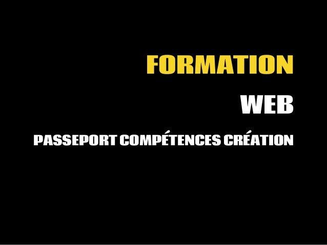 FORMATION WEB PASSEPORT COMPÉTENCES CRÉATION