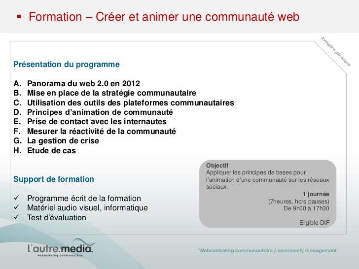Formation – Créer et animer une communauté web Slide 2