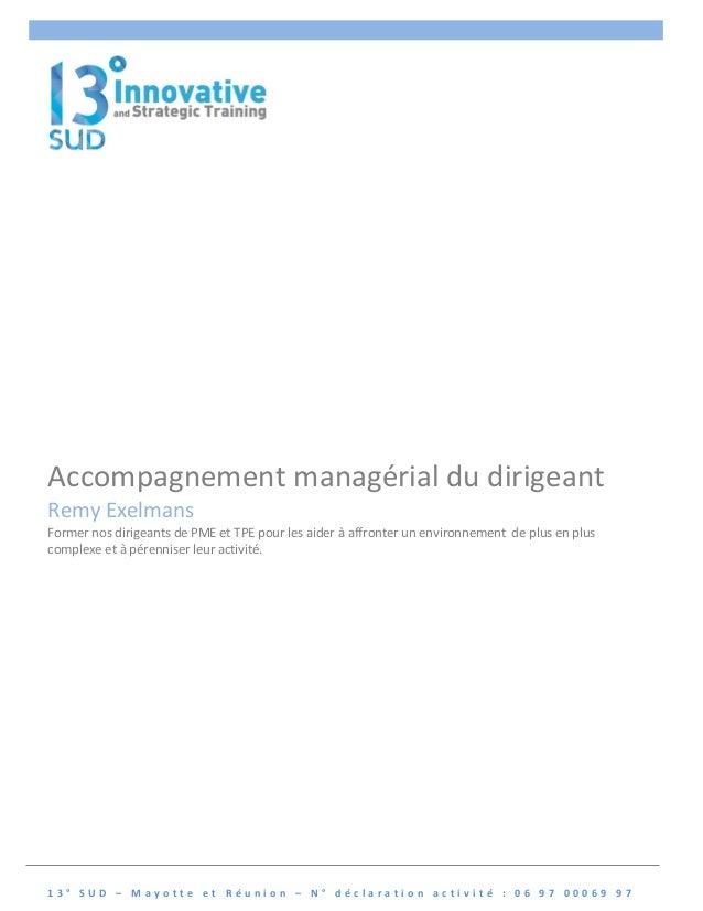 Accompagnement  managérial  du  dirigeant  Remy  Exelmans  Former  nos  dirigeants  de  PME  et  TPE  pour  les  aider  à ...