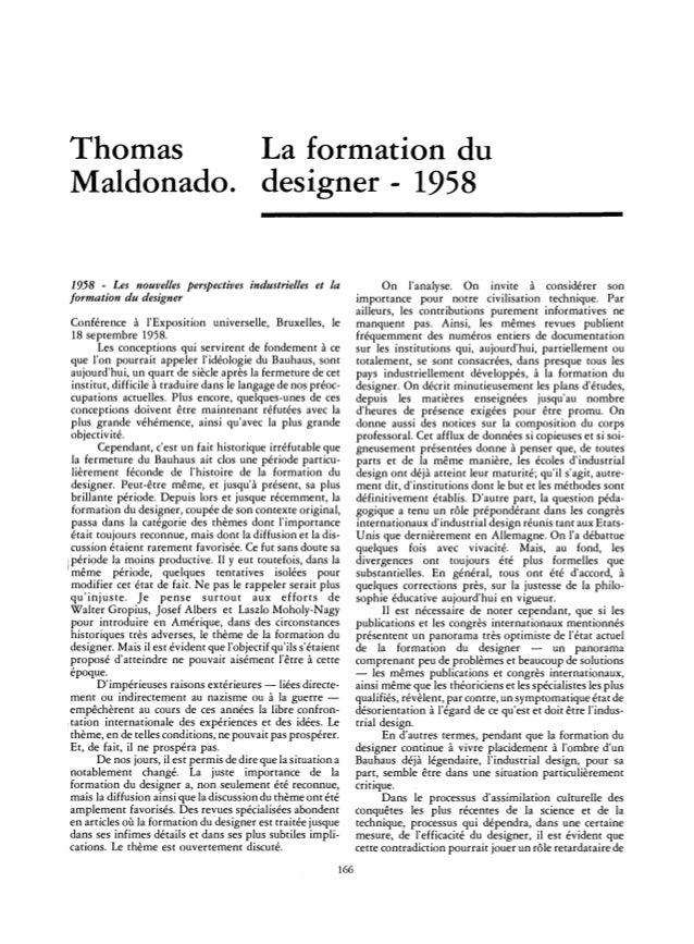 Thomas La formation du Maldonado. designer - 1958 1958 - Les nouvelles perspectives industrielles et la formation du desig...