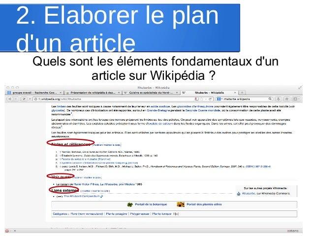 2. Elaborer le plan d'un article  Quels sont les éléments fondamentaux d'un article sur Wikipédia ?