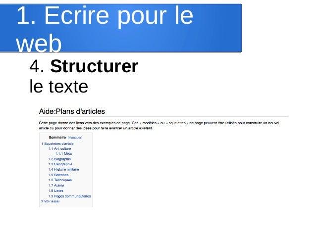 1. Ecrire pour le web 4. Structurer le texte