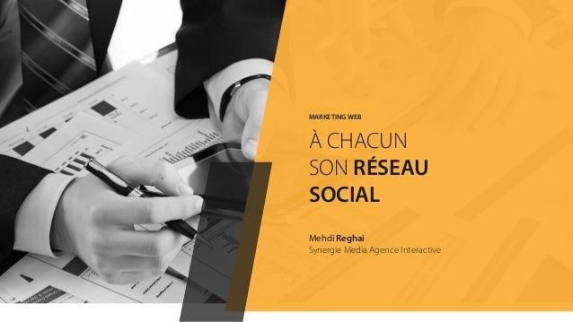 MARKETING WEB À CHACUN SON RÉSEAU SOCIAL Mehdi Reghai Synergie Media Agence Interactive