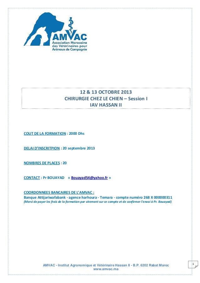 AMVAC - Institut Agronomique et Vétérinaire Hassan II - B.P. 6202 Rabat Maroc www.amvac.ma 1 12 & 13 OCTOBRE 2013 CHIRURGI...