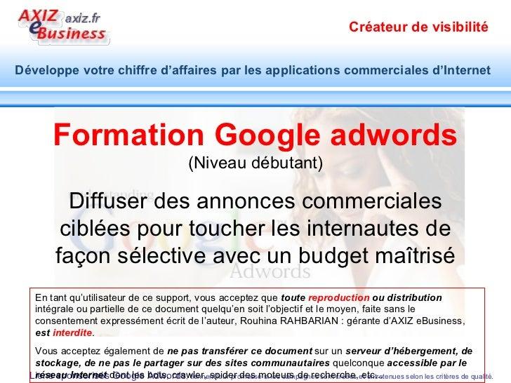 Formation Google adwords (Niveau débutant) Diffuser des annonces commerciales ciblées pour toucher les internautes de faço...