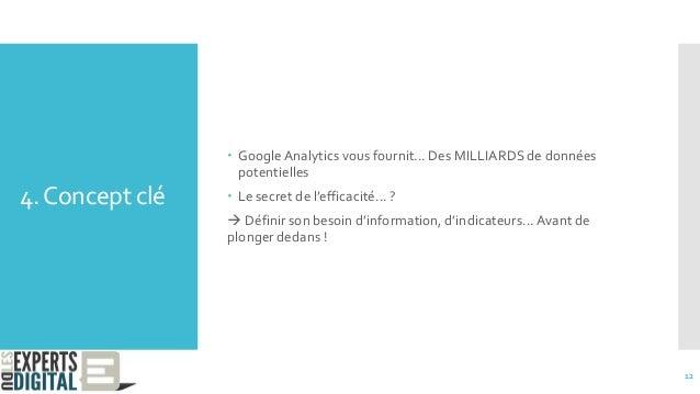 4.Concept clé  GoogleAnalytics vous fournit... Des MILLIARDS de données potentielles  Le secret de l'efficacité... ?  D...