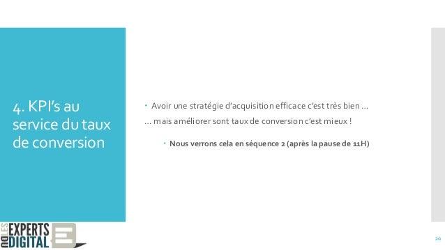 4. KPI's au service du taux de conversion  Avoir une stratégie d'acquisition efficace c'est très bien … … mais améliorer ...