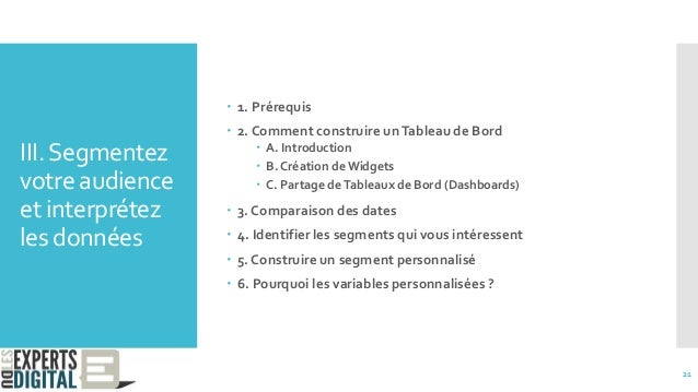 III.Segmentez votre audience et interprétez les données  1. Prérequis  2. Comment construire unTableau de Bord  A. Intr...