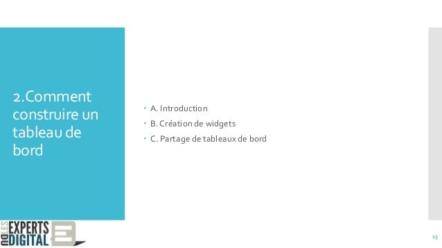 2.Comment construire un tableau de bord  A. Introduction  B. Création de widgets  C. Partage de tableaux de bord 23
