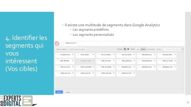 4. Identifier les segments qui vous intéressent (Vos cibles) 31  Il existe une multitude de segments dans Google Analytic...