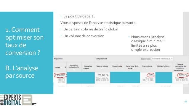 1.Comment optimiser son taux de conversion ? B. L'analyse par source  Le point de départ : Vous disposez de l'analyse sta...
