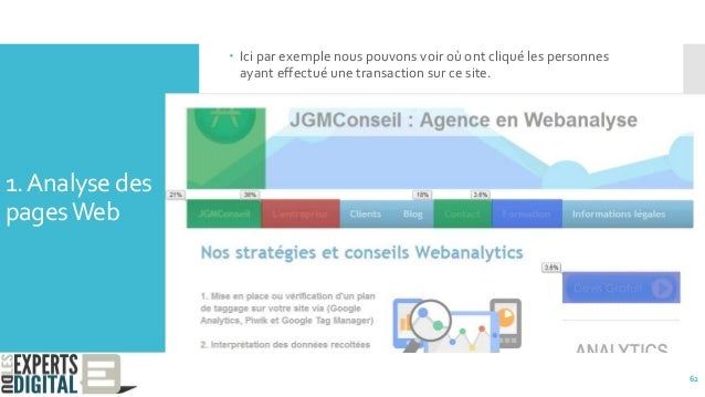 1.Analyse des pagesWeb  Ici par exemple nous pouvons voir où ont cliqué les personnes ayant effectué une transaction sur ...