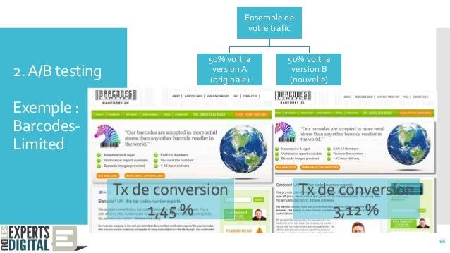 2.A/B testing Exemple : Barcodes- Limited Ensemble de votre trafic 50% voit la version A (originale) 50% voit la version B...