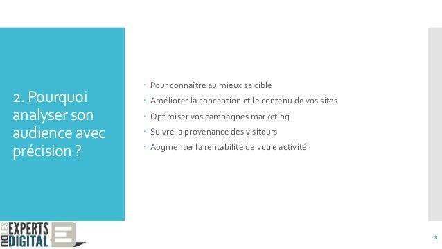 2. Pourquoi analyser son audience avec précision ?  Pour connaître au mieux sa cible  Améliorer la conception et le cont...