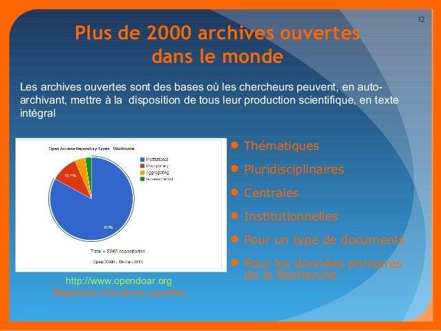 Plus de 2000 archives ouvertes  dans le monde  Les archives ouvertes sont des bases où les chercheurs peuvent, en auto-arc...