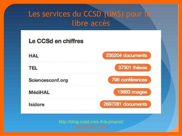 Les services du CCSD (UMS) pour le  libre accès  http://blog.ccsd.cnrs.fr/a-propos/  Septembre 2013