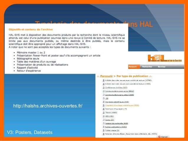 Typologie des documents dans HAL  http://halshs.archives-ouvertes.fr/  V3: Posters, Datasets