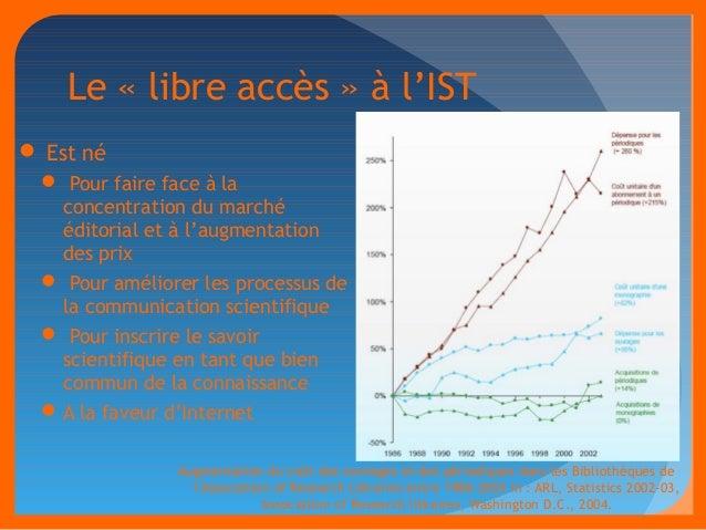 Le « libre accès » à l'IST   Est né   Pour faire face à la  concentration du marché  éditorial et à l'augmentation  des ...