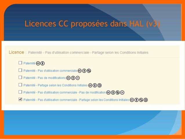 Licences CC proposées dans HAL (v3)