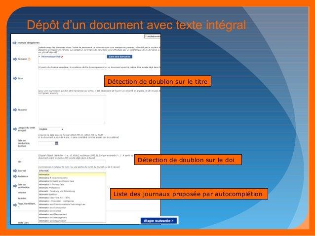 Dépôt d'un document avec texte intégral  Détection de doublon sur le titre  Détection de doublon sur le doi  Liste des jou...