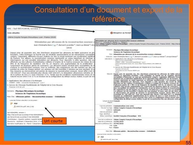 55  Consultation d'un document et export de la  référence  Url courte