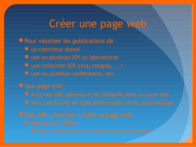 Créer une page web  Pour valoriser les publications de  un chercheur donné  une ou plusieurs EPI ou laboratoires  une ...