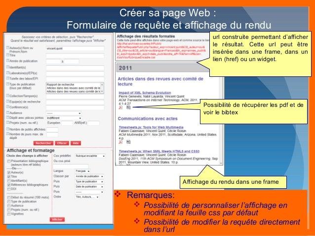 Créer sa page Web :  Formulaire de requête et affichage du rendu  url construite permettant d'afficher  le résultat. Cette...