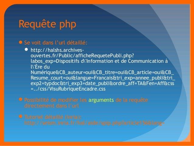 Requête php  Se voit dans l'url détaillé:  http://halshs.archives-ouvertes.  fr/Public/afficheRequetePubli.php?  labos_e...