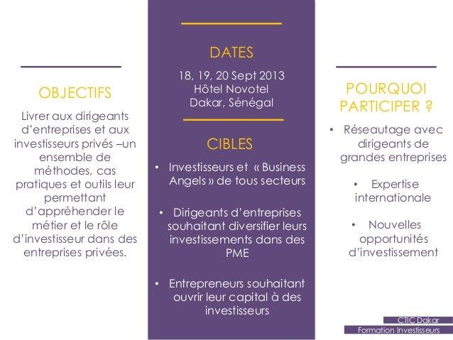 Formation investisseurs CTIC Dakar - Sept 2013  Slide 2