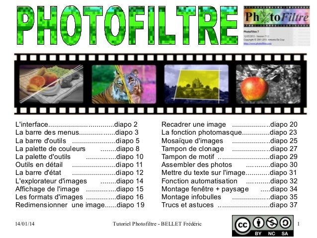 14/01/14 Tutoriel Photofiltre - BELLET Frédéric 1 L'interface.................................diapo 2 La barre des menus.....