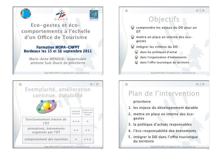 Objectifs    Eco-gestes et éco-                                                            comprendre les enjeux du DD pou...