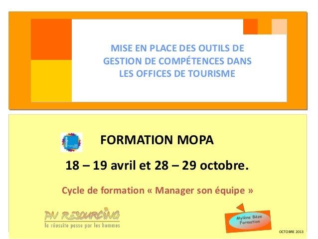 MISE EN PLACE DES OUTILS DE GESTION DE COMPÉTENCES Vendée Loire ViandesDANS LES OFFICES DE TOURISME  FORMATION MOPA  18 – ...