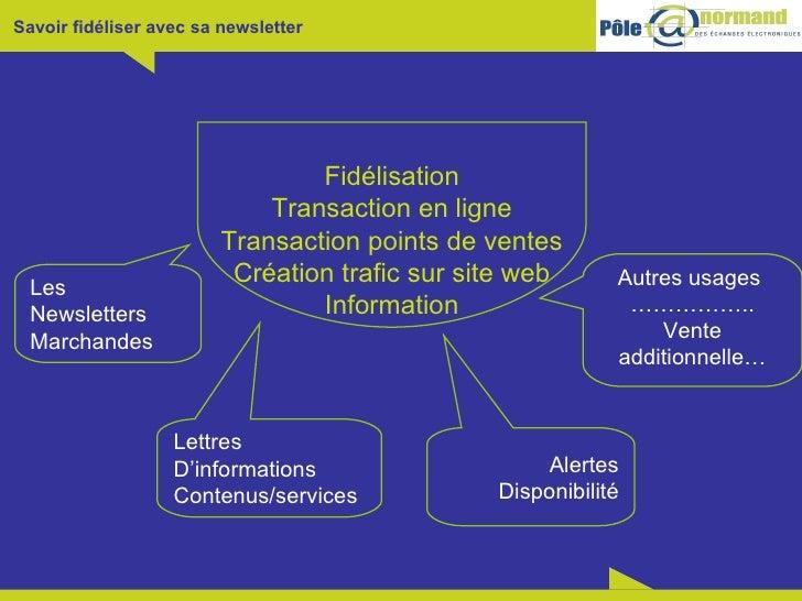 Fidélisation Transaction en ligne Transaction points de ventes Création trafic sur site web Information Les Newsletters Ma...