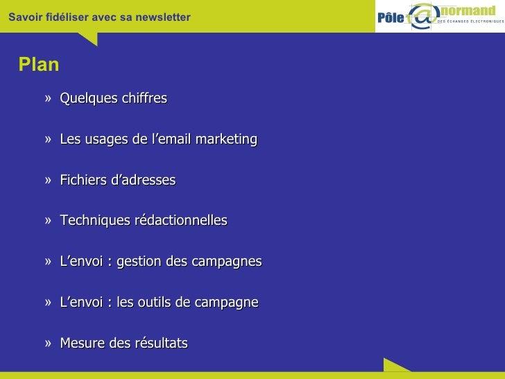 Plan <ul><ul><li>Quelques chiffres </li></ul></ul><ul><ul><li>Les usages de l'email marketing </li></ul></ul><ul><ul><li>F...