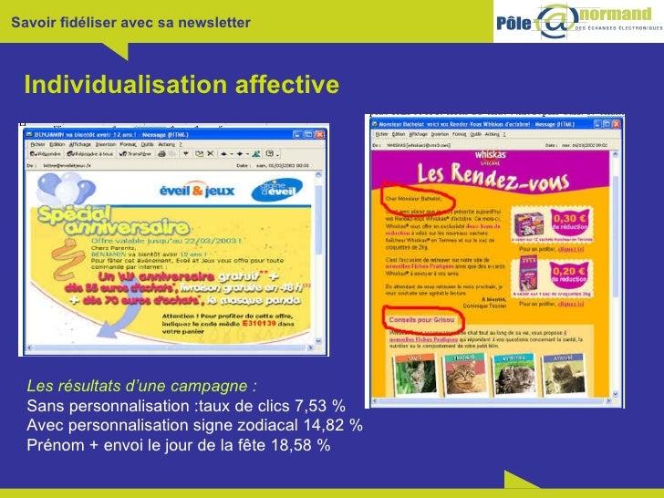 Individualisation affective Les résultats d'une campagne:   Sans personnalisation:taux de clics 7,53 % Avec personnalisa...