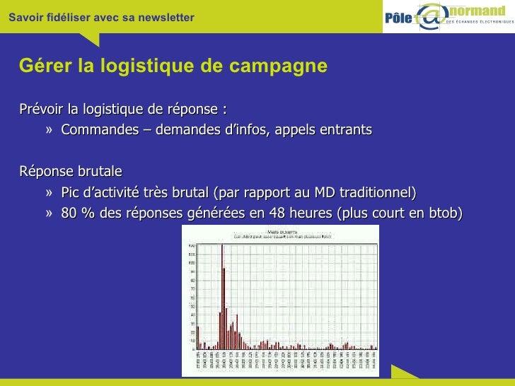 Gérer la logistique de campagne <ul><li>Prévoir la logistique de réponse : </li></ul><ul><ul><li>Commandes – demandes d'in...
