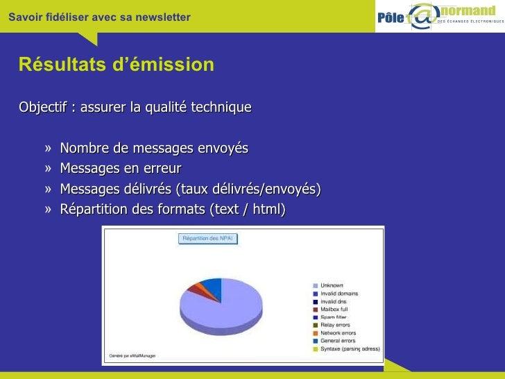 Résultats d'émission <ul><li>Objectif : assurer la qualité technique </li></ul><ul><ul><li>Nombre de messages envoyés </li...