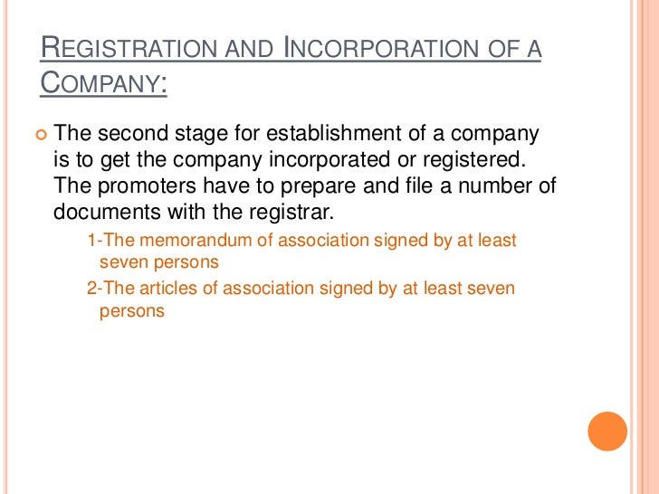 MEMORANDUM OF ASSOCIATION Memorandum of association is the basic document  of a joint stock company. It is known as the ...