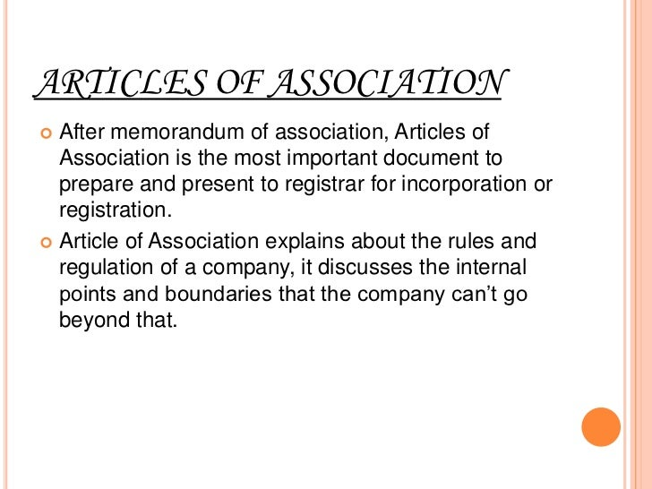 CONTENTS OF ARTICLES OFASSOCIATION1. Amount of share capital: company calculates   the face value of shares and mentions i...