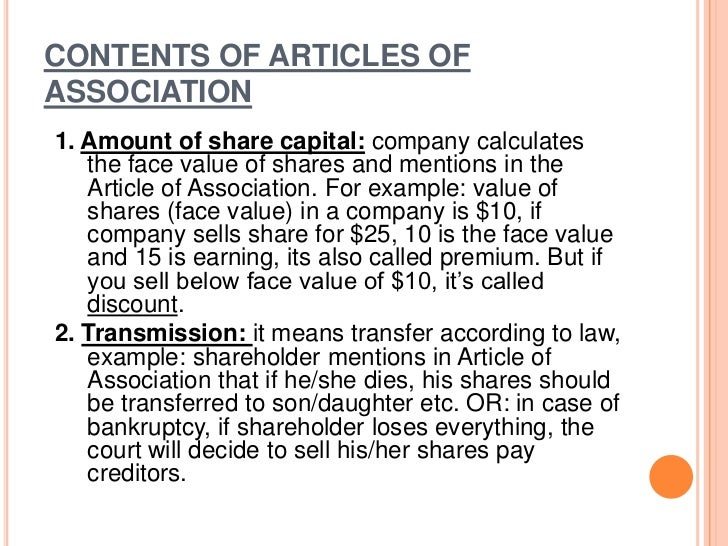 6- Manner of transfer of shares. (means different   method/ways to issue different shares)7- Rules regarding appointment o...