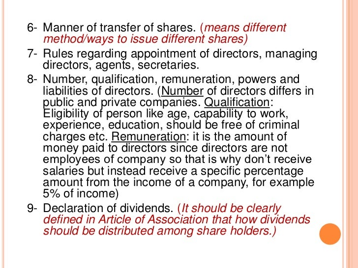 11-Forfeiture of shares.12-Matters relating to account and audit, (Clarifies  how audit should take place or control accou...