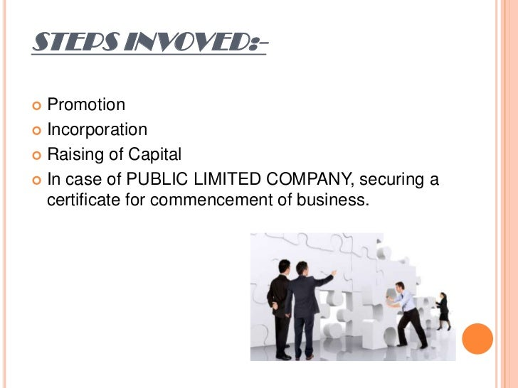 STEPS INVOVED:- Promotion Incorporation Raising of Capital In case of PUBLIC LIMITED COMPANY, securing a  certificate ...
