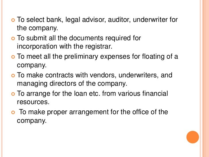 DUTIES AND OBLIGATION OF PROMOTERS   The promoters must disclose fully all the material facts    regarding the formation ...