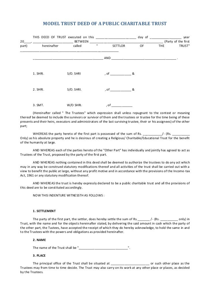Bare Trust Deedsample Deed Of Trust Form. Quitclaim Deed Form