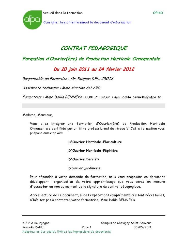 Accueil dans la formation                                                  OPHO             Consigne : lire attentivement ...