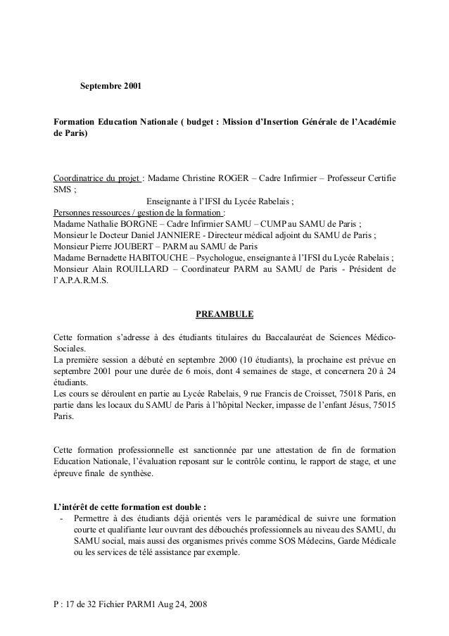 Septembre 2001  Formation Education Nationale ( budget : Mission d'Insertion Générale de l'Académie de Paris)  Coordinatri...