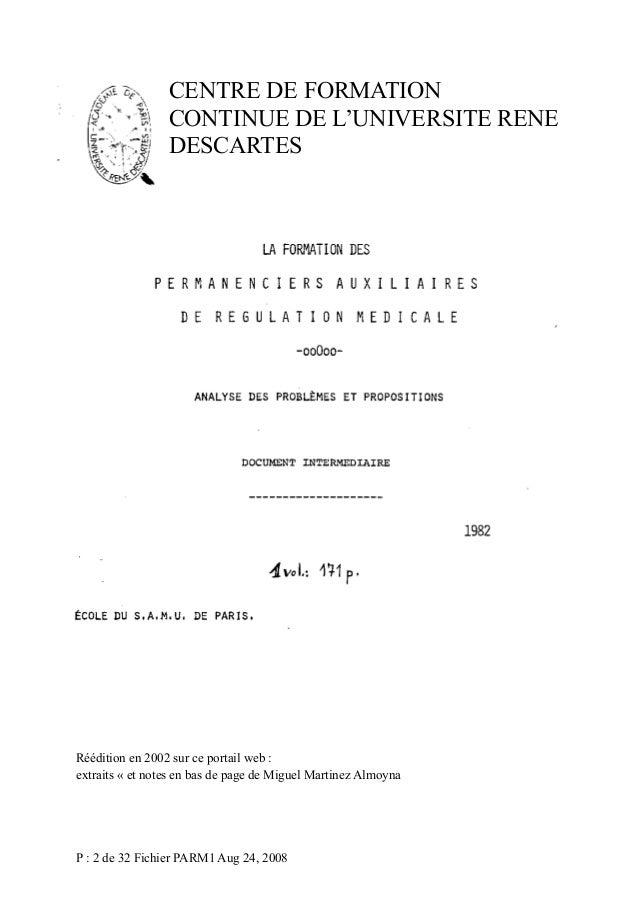 CENTRE DE FORMATION CONTINUE DE L'UNIVERSITE RENE DESCARTES  Réédition en 2002 sur ce portail web : extraits « et notes en...
